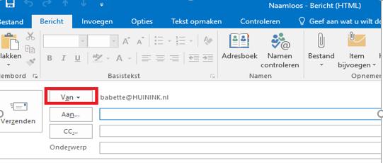 Huinink - e-mail versturen onder ander e-mailadres